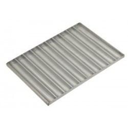 Aluminized baguette tray, canal widthwise